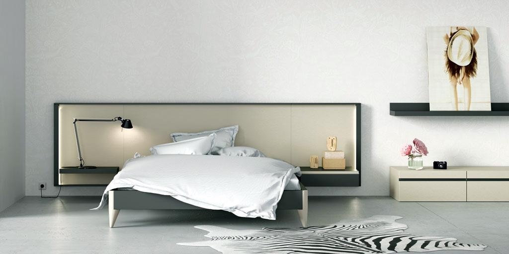 Dormitorio-matrimonio-moderno-cabecero-homage-nacar-vulcano by Lagrama en Muebles ANTOÑÁN León