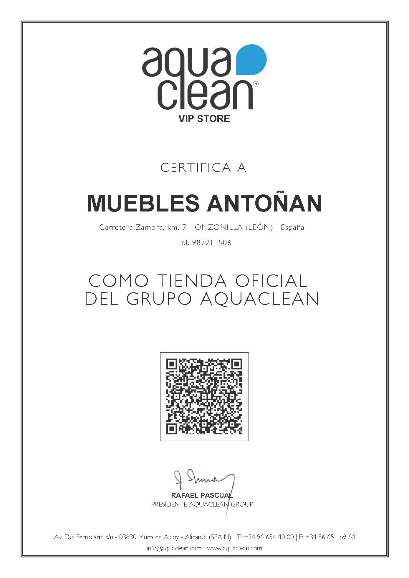 Muebles Antoñán aquaclean VIP STORE CERTIFICADO TIENDA OFICIAL GRUPO AQUACLEAN