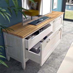 MESA TV para salón AMBERES 15C_4 colección La Mejor Sobremesa madera pino arenado by GrupoSeys en muebles antoñán® León