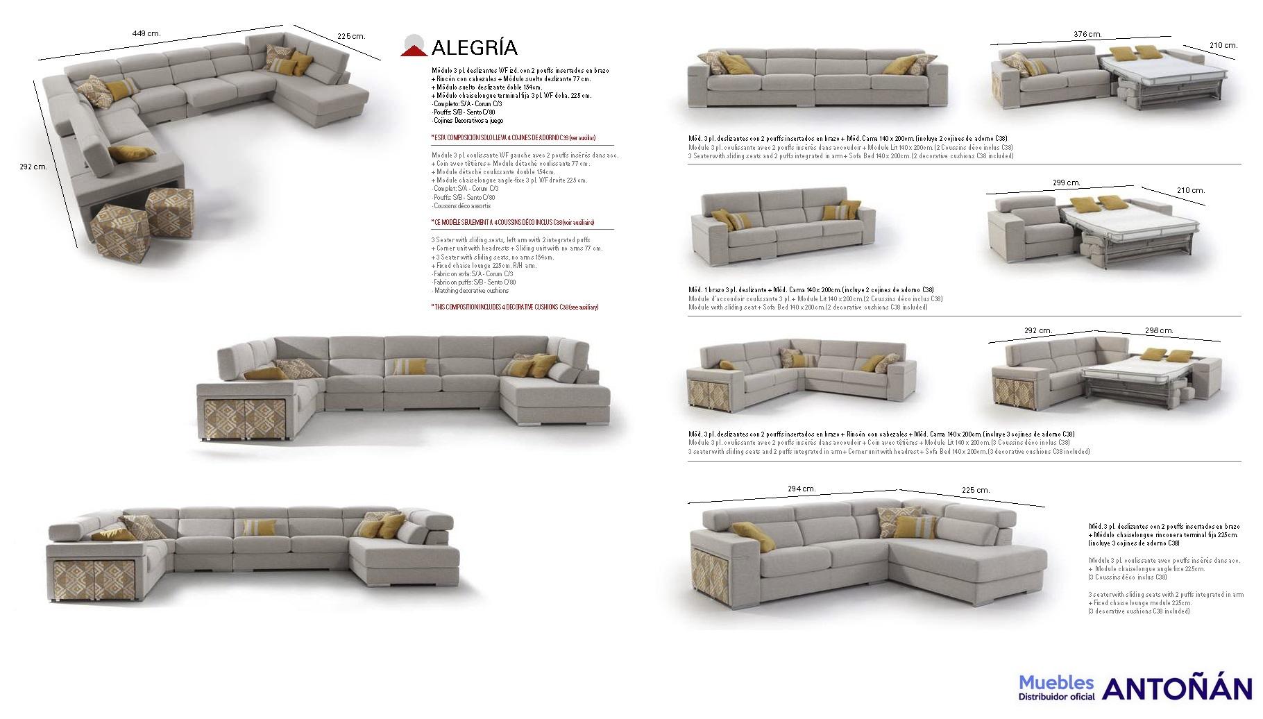 MEDIDAS Sofá Rinconera Modular ALEGRÍA 03.1 by Mayor Tapizados de venta en muebles antoñán® León
