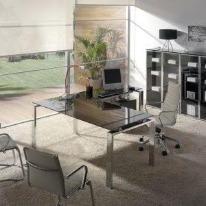 Despacho moderno mesa Concepto-cromo-cristal-marron-08 by Ofifran en muebles antoñán® León