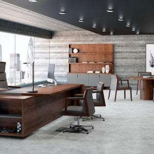 Mueble despacho mesa Freeport-nogal-natural-piel-antracita-07-CMYK by Ofifran en muebles antoñán® León