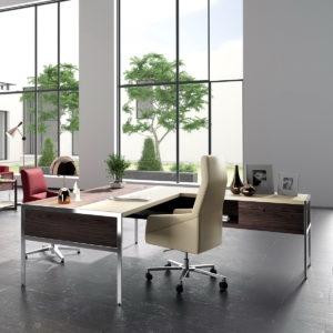 Mueble despacho mesa Gallery-&-Ray-nogal-espresso-cromo-piel-marfil-PI04-y-burdeos-PI13-15 by Ofifran en muebles antoñán® León