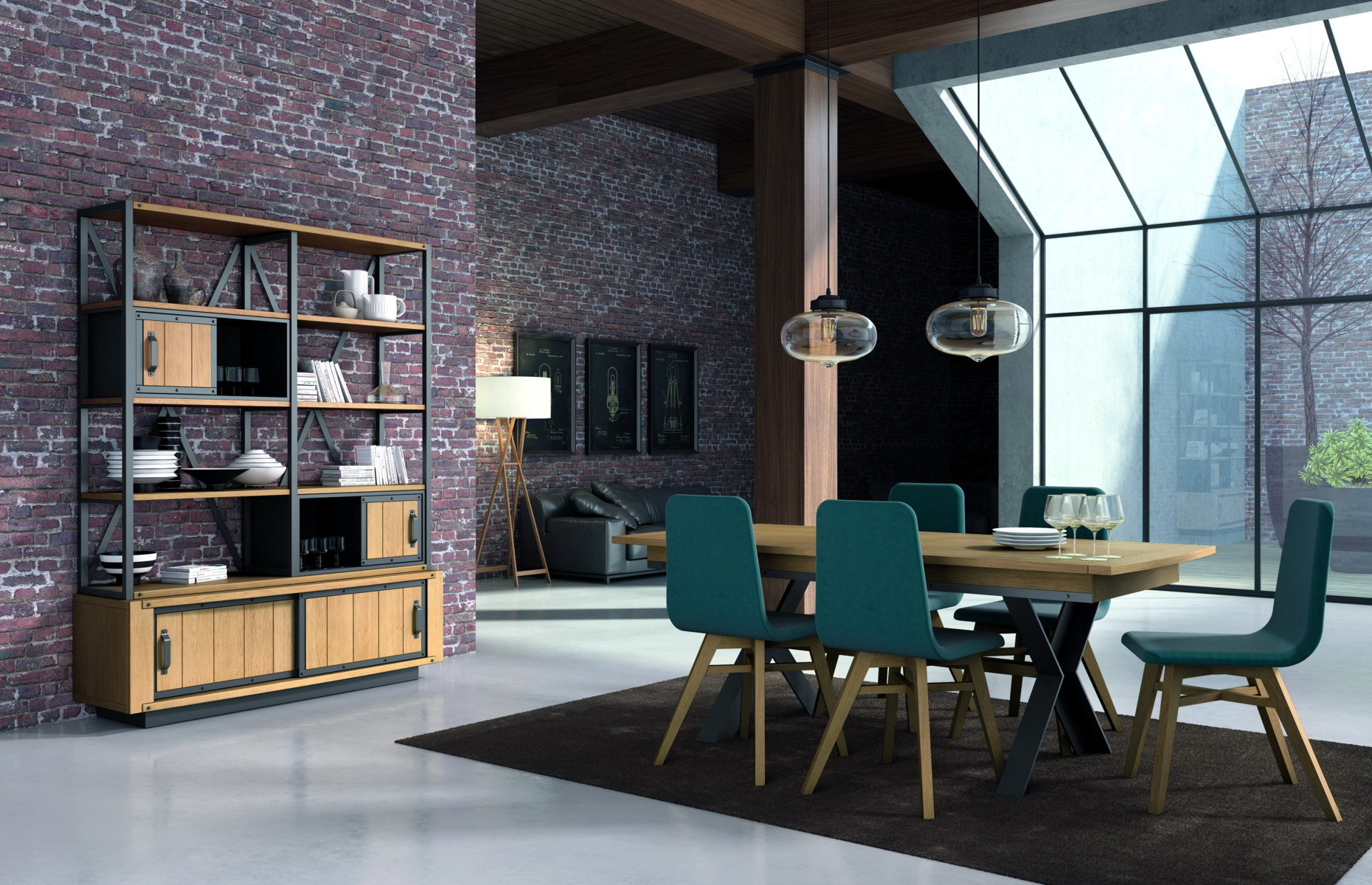 Indus sal n estilo industrial by corti muebles anto n for Decoracion salon estilo industrial