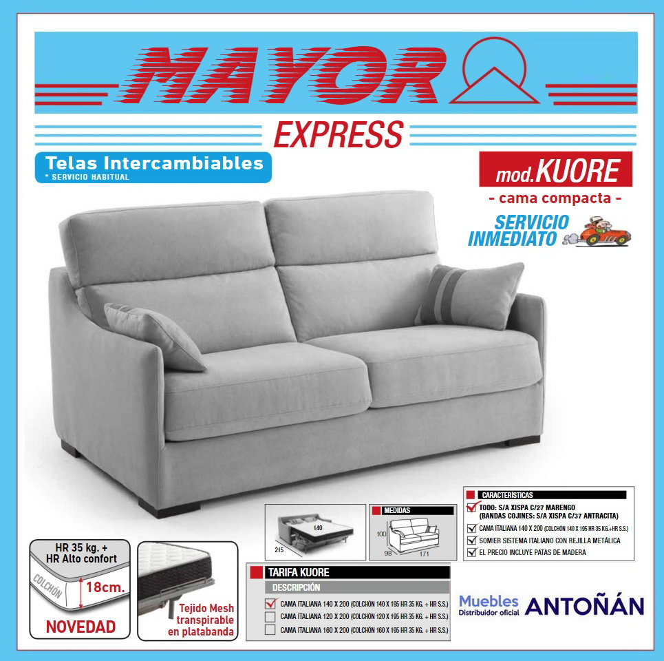 Sofá cama SERVICIO EXPRESS 48h sistema Apertura Italiana by Mayor Tapizados en muebles antoñán® León portada