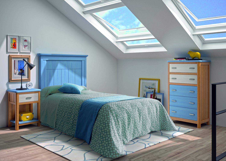 Dormitorio Juvenil madera 06J2 cama pequeña CERDEÑA_GRUPOSEYS en muebles antoñán® León