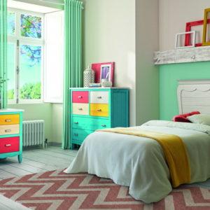 Dormitorio Juvenil madera 09J1 cama pequeña y mesa estudio AMBERES GRUPOSEYS en muebles antoñán® León