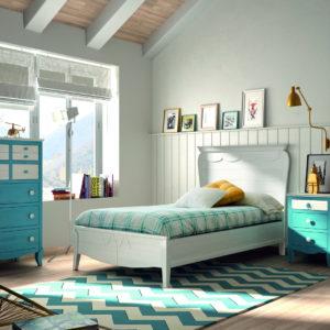 Dormitorio Juvenil madera 29J_1 Cama Pequeña pino arenado BASILEA by GrupoSeys en muebles antoñán® León
