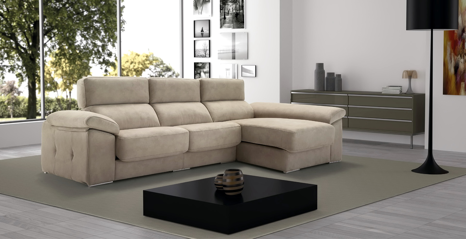 Sofá Chaise-Longue modular asientos extensibles SORIA 11G by Paco Bautista en muebles antoñán® León