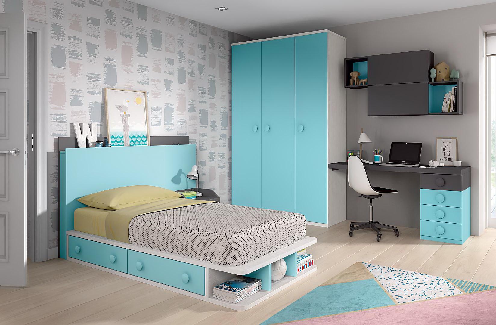 De asombroso habitaciones juveniles con rayas Nuestros diseños favoritos - CAMAS INFANTILES y JUVENILES Formas19 - Muebles ANTOÑÁN