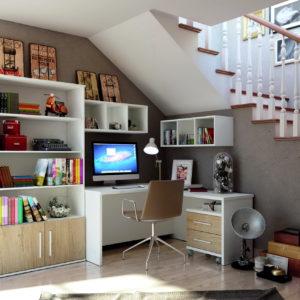 Mesa estudio esquina moderna YOKO 32 y Librería by Azor en muebles antoñán® León