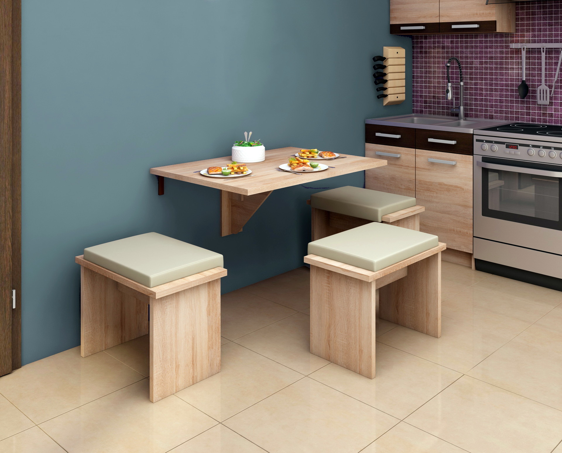 Mesas cocina plegables by Herdasa - Muebles ANTOÑÁN