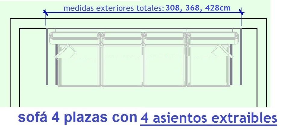 sofa 4 PLAZAS con 4 extraibles ANGELA by P. Ortiz