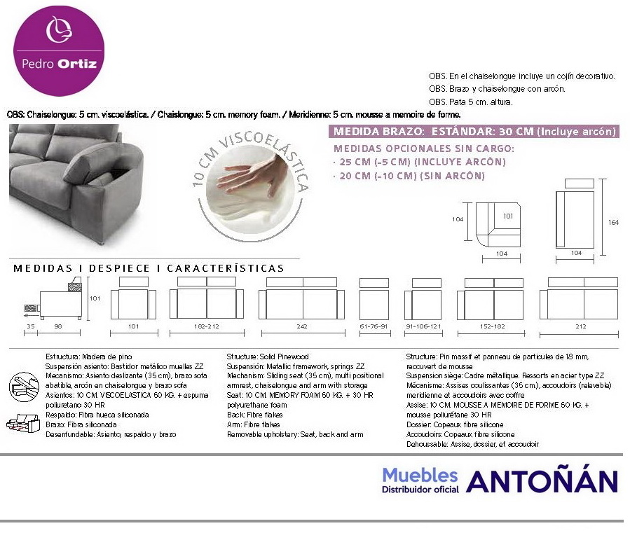 ARIEL sofá modular asientos extensibles by Pedro Ortiz 03 MEDIDAS SOFAS de venta en Muebles Antoñán León