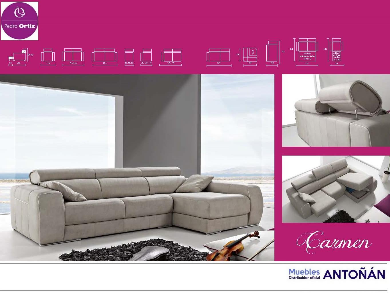 CARMEN sofá modular asientos extensibles by Pedro Ortiz 03 MEDIDAS SOFA de venta en Muebles Antoñán León
