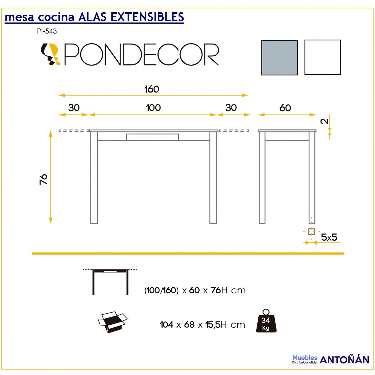 Mesas cocina ALAS EXTENSIBLES by CMC Unique Pondecor en ...