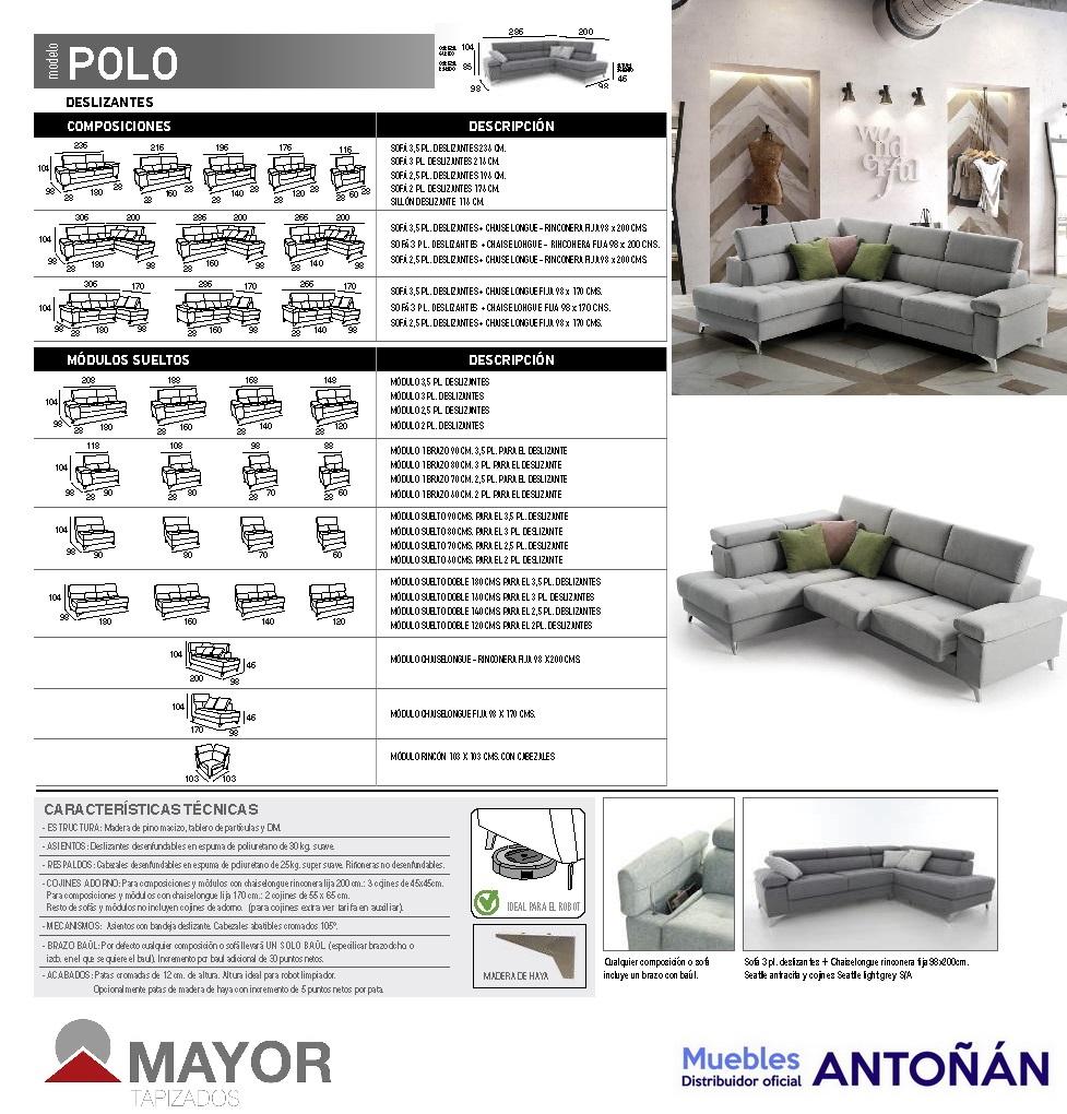 POLO sofá modular RINCONERA by Mayor Tapizados DESPIECE MEDIDAS 01.3 de venta en Muebles Antoñán León